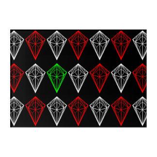 Diamant-, Rubin-und Saphir-Muster Acryl Wandkunst