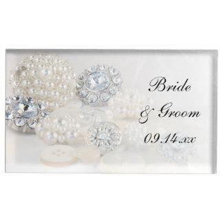 Diamant und weiße Perlen-Knöpfe, die Wedding sind Tischkartenhalter