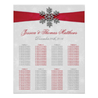 Diamante Schneeflocke u. rote Band-Winter-Hochzeit Poster