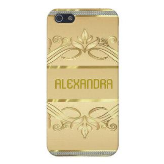 Diamanten u. GoldWirbel-gewohnheit Monogramm Hülle Fürs iPhone 5