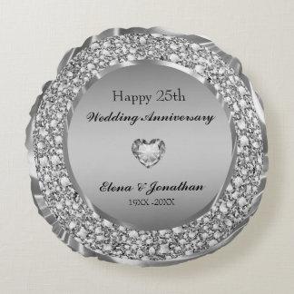 Diamanten u. Silber-25. Hochzeitstag Rundes Kissen