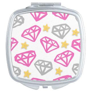 Diamanten u. Stern-Spiegel Taschenspiegel