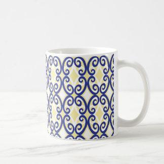 Diamanten und Wirbels-Marine-Gelb-Weiß-Tasse Tasse