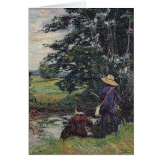 Die Angler, c.1885 Grußkarte