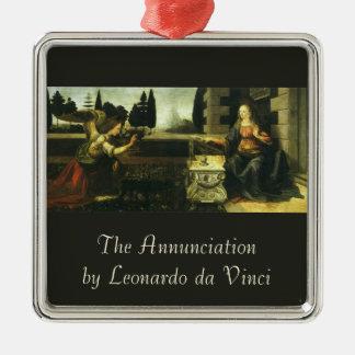Die Ankündigung durch Leonardo da Vinci Quadratisches Silberfarbenes Ornament