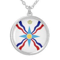 Die Assyrian Flaggen-Halskette Halskette Mit Rundem Anhänger