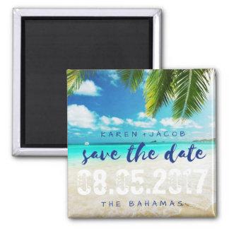 Die Bahamas-Strand-Hochzeit retten die Daten Quadratischer Magnet