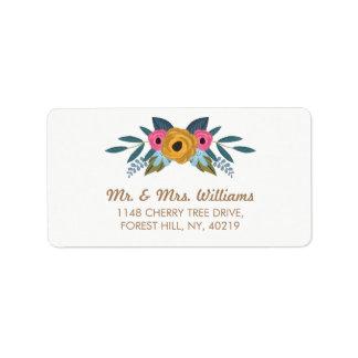 Die BlumenKranz-weiße Hochzeits-Sammlung Adressaufkleber