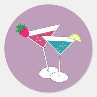 Die bunten Aufkleber des Cocktail-neuen Jahres