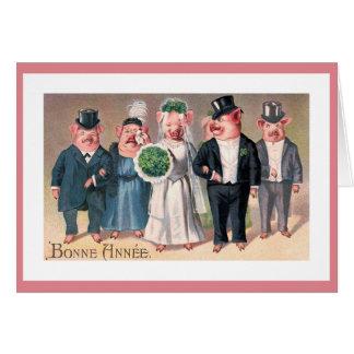 Die Die Hochzeits-Vintage Illustration des Karte
