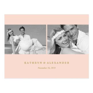 Die einfachen sauberen rosa Wedding Rahmen danken Postkarte