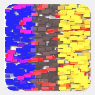 Die farbigen Gebäude-Blöcke Quadratischer Aufkleber