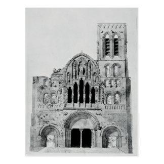 Die Fassade von La Madeleine de Vezelay Postkarte