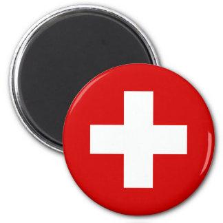 Die Flagge von der Schweiz Runder Magnet 5,1 Cm
