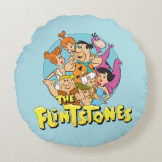 Die Flintstones und die Schutt-Familien-Grafik Rundes Kissen