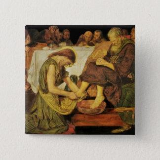 Die Füße Jesus-Schülers Quadratischer Button 5,1 Cm