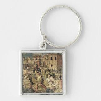 Die Gefangenen Silberfarbener Quadratischer Schlüsselanhänger