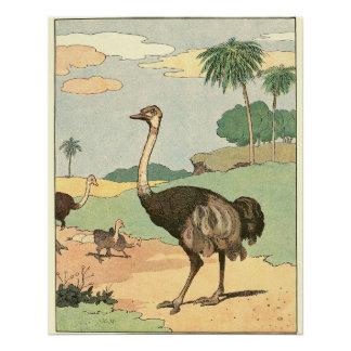 Die Geschichten-Buch-Tiere der Strauß-Kinder Perfektes Poster