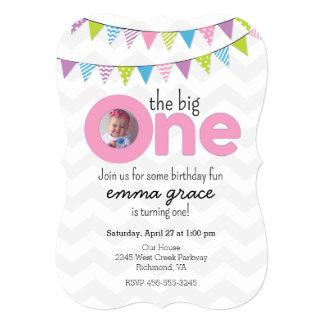 Die große Mädchen-erste Geburtstags-Einladung 12,7 X 17,8 Cm Einladungskarte