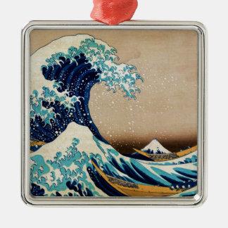 Die große Welle durch Hokusai Vintagen Japaner Quadratisches Silberfarbenes Ornament