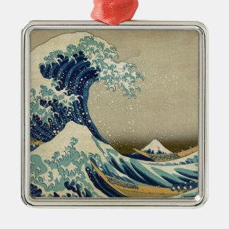 Die große Welle Kanagawa Quadratisches Silberfarbenes Ornament