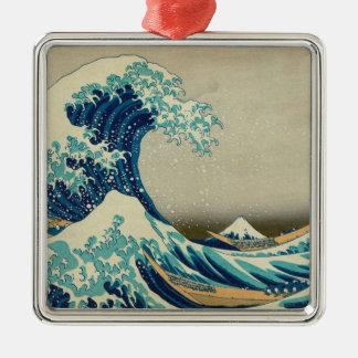 Die große Welle weg von Kanagawa Quadratisches Silberfarbenes Ornament