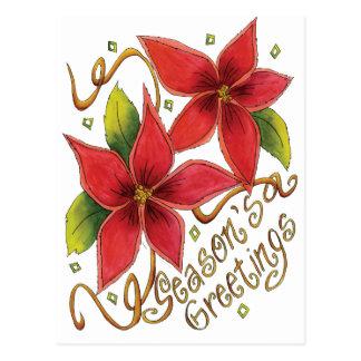 Die Gruß-Poinsettias der Jahreszeit Postkarte