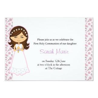 Die heilige Kommunions-Einladung des Mädchens 12,7 X 17,8 Cm Einladungskarte