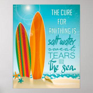 Die Heilung für alles ist Salzwasser Poster