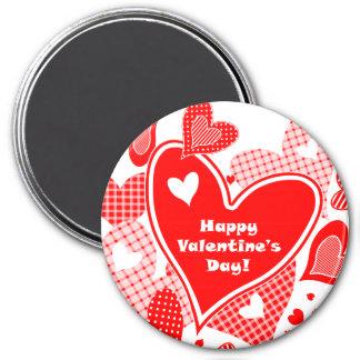 Die Herzen des Valentinsgrußes Runder Magnet 7,6 Cm
