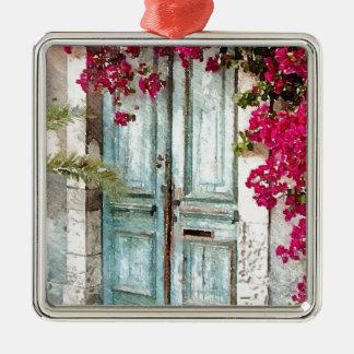 Die Hütten-Tür Quadratisches Silberfarbenes Ornament