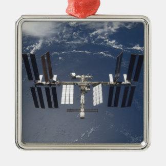 Die internationale Weltraumstation 13 Quadratisches Silberfarbenes Ornament
