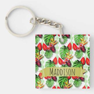 Die jugendlich Mädchen-personalisiertes tropisches Einseitiger Quadratischer Acryl Schlüsselanhänger