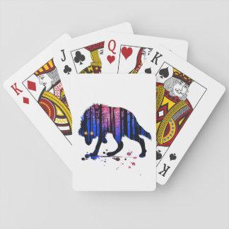 Die Jungen-Wolf-Galaxie-Stern-WaldSilhouette der Spielkarten