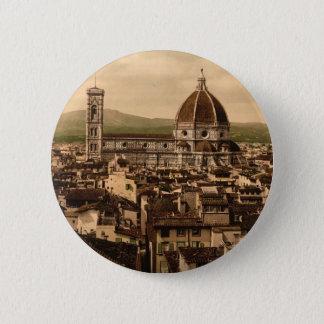 Die Kathedrale, Panoramablick von Vecchio Palast, Runder Button 5,1 Cm