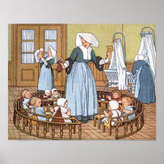 Die Kinderzimmer-Vintage Illustration Poster