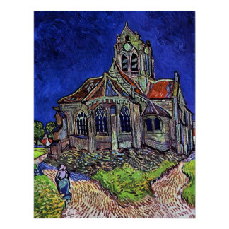 Die Kirche bei Auvers durch Vincent van Gogh 1890 Poster