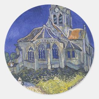 Die Kirche in Auvers durch Vincent van Gogh Runder Aufkleber