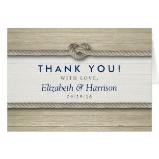 Die Knoten-rustikale Strand-Hochzeit binden, danke Mitteilungskarte