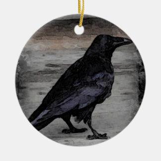 Die Krähe Keramik Ornament