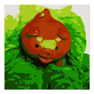 Die Kunst-Plakat-Schwein des Kindes auf einem Bett Perfektes Poster