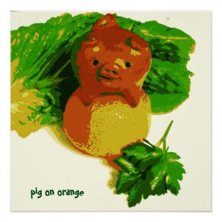 Die Kunst-Plakat-Schwein des Kindes auf orange Perfektes Poster