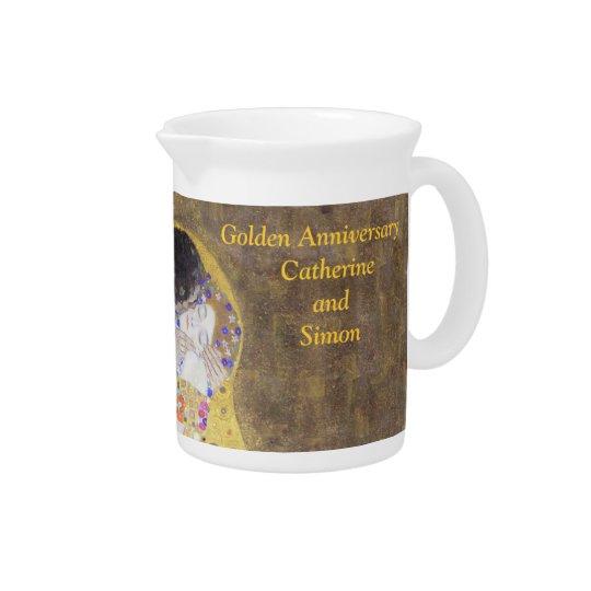 Die Kuss Klimt goldene Hochzeitstag-Gewohnheit P Getränke Pitcher