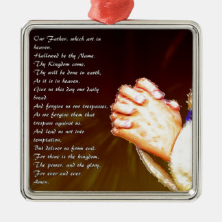 Die Lords Praying Hands Quadratisches Silberfarbenes Ornament