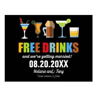 Die lustigen freien Wedding Getränke retten die Postkarte