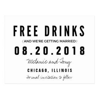 Die lustigen freien Wedding Getränke retten die Postkarten