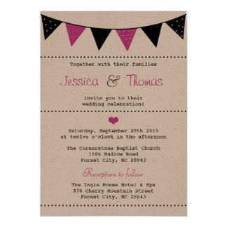 Die moderne rosa Flaggen-Hochzeits-Sammlung 12,7 X 17,8 Cm Einladungskarte