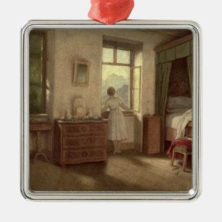 Die Morgen-Stunde Quadratisches Silberfarbenes Ornament