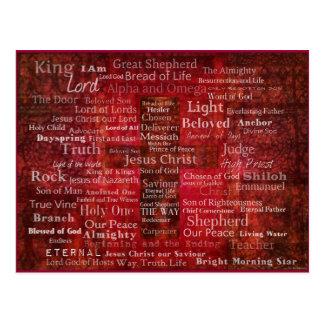 Die Namen des Jesus Christus von der Bibel Postkarte
