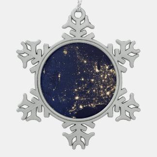 Die NASA-Lichter vom Raum USA Schneeflocken Zinn-Ornament